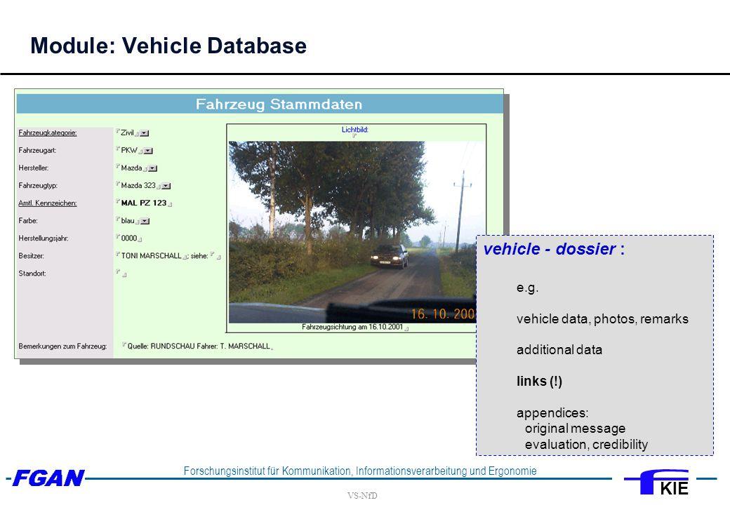 VS-NfD Forschungsinstitut für Kommunikation, Informationsverarbeitung und Ergonomie KIE vehicle - dossier : e.g.