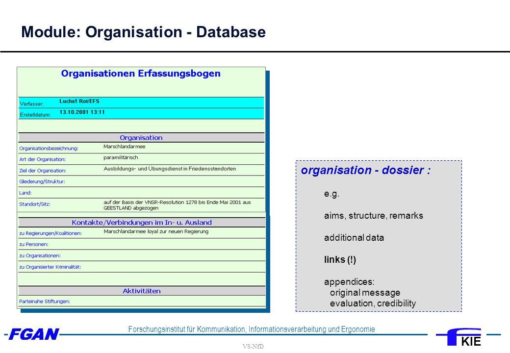 VS-NfD Forschungsinstitut für Kommunikation, Informationsverarbeitung und Ergonomie KIE organisation - dossier : e.g.