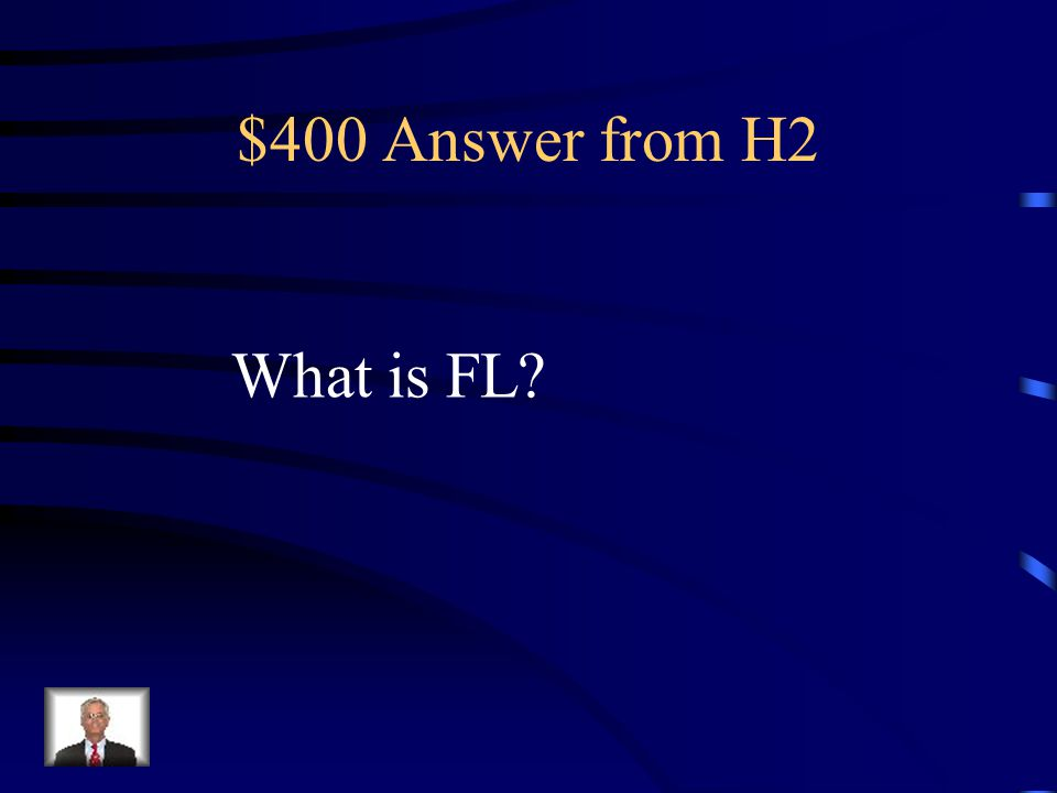 $400 Question from H2 The abbreviation for Florida.