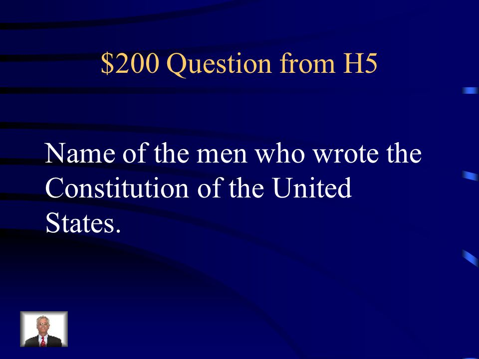 $100 Answer from H5 Who is President Washington