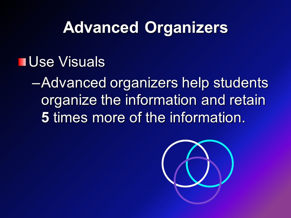 Advanced Organizers Use Visuals –Advanced organizers help students organize the information and retain 5 times more of the information.