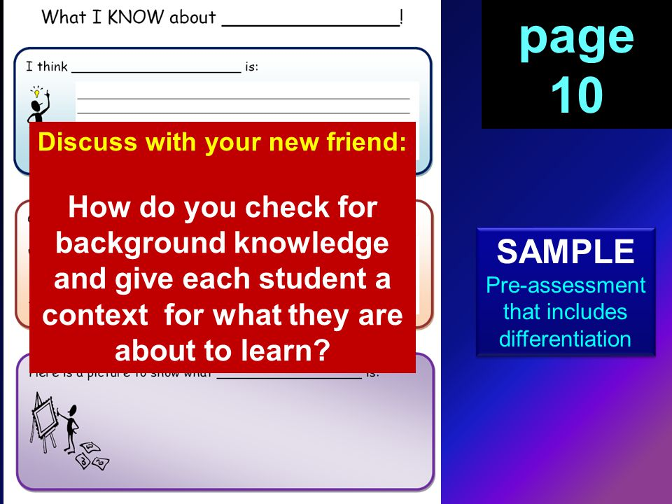 SAMPLE Pre-assessment that includes differentiation SAMPLE Pre-assessment that includes differentiation page 10 Discuss with your new friend: How do you check for background knowledge and give each student a context for what they are about to learn