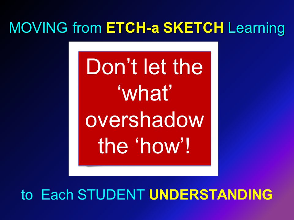 MOVING from ETCH-a SKETCH Learning to Each STUDENT UNDERSTANDING Don't let the 'what' overshadow the 'how'!