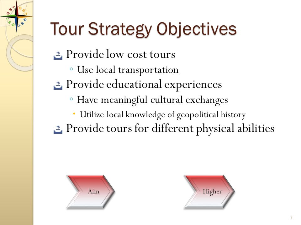 Tour Development Goals Focus on significant experiences ◦ Preserve QST values Price tours reasonably Create learning opportunities ◦ Offer local guides ◦ Provide experts 2