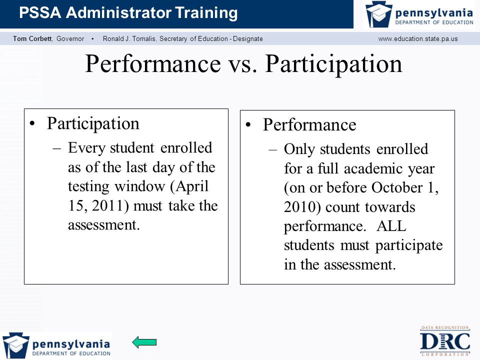 Tom Corbett, Governor ▪ Ronald J. Tomalis, Secretary of Education - Designatewww.education.state.pa.us PSSA Administrator Training Performance vs. Par
