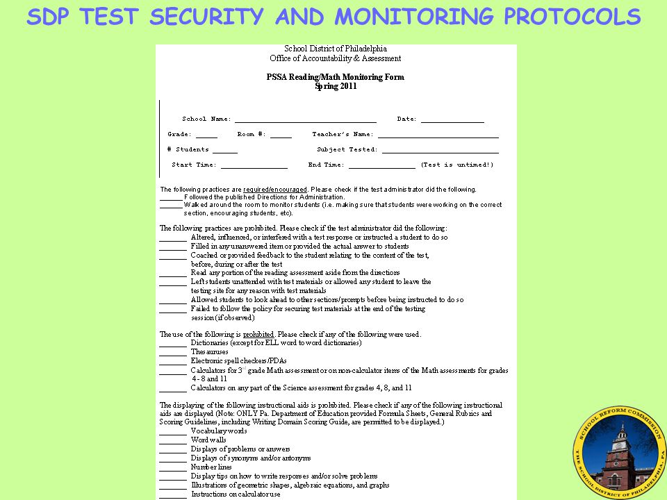 SDP TEST SECURITY AND MONITORING PROTOCOLS