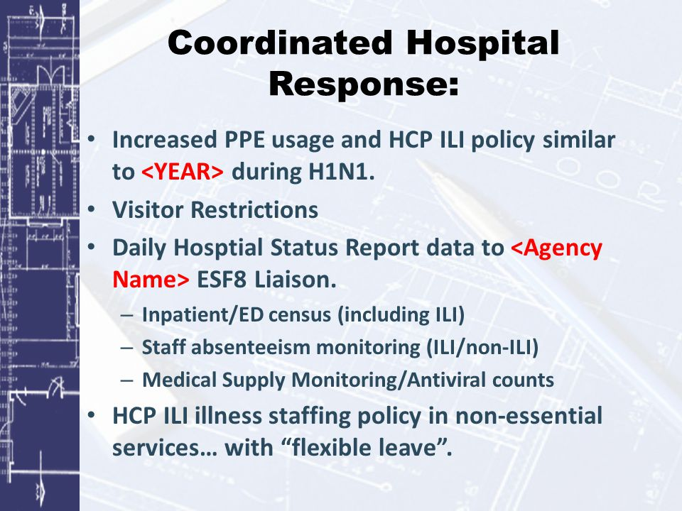 Coordinated Hospital Response: Increased PPE usage and HCP ILI policy similar to during H1N1. Visitor Restrictions Daily Hosptial Status Report data t