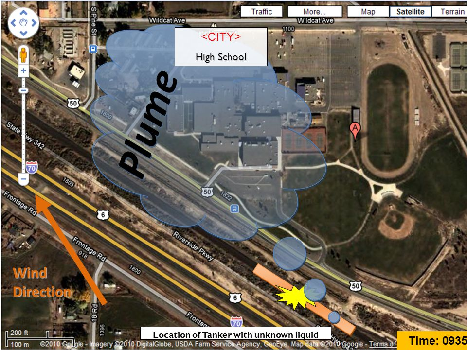 Plume Wind Direction High School Location of Tanker with unknown liquid Time: 0935
