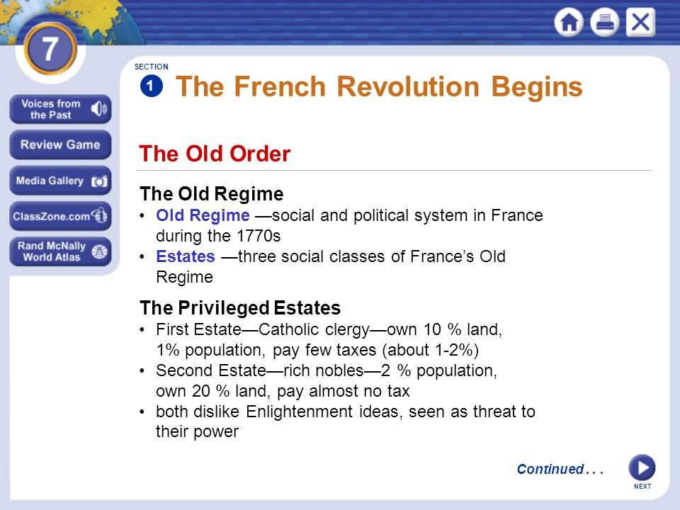NEXT SECTION 1 The Third Estate 97 % of people in France with different amounts of $ Have few privileges, can't hold gov.