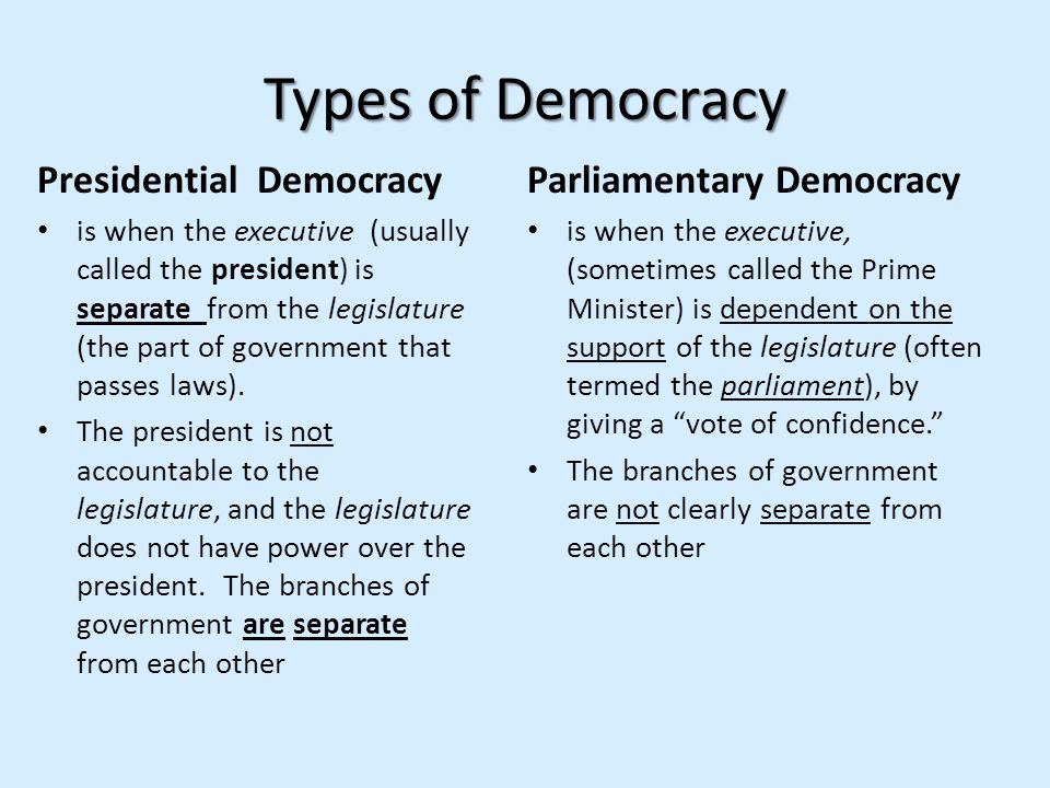 Types of Democracy Presidential Democracy is when the executive (usually called the president) is separate from the legislature (the part of governmen