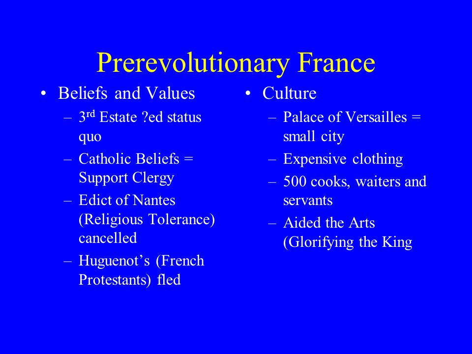 Prerevolutionary France Beliefs and Values –3 rd Estate ?ed status quo –Catholic Beliefs = Support Clergy –Edict of Nantes (Religious Tolerance) cance