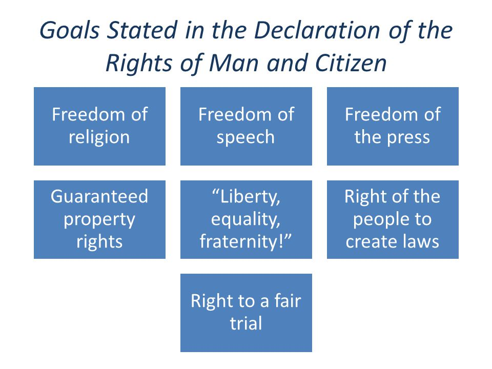 Goals Stated in the Declaration of the Rights of Man and Citizen Freedom of religion Freedom of speech Freedom of the press Guaranteed property rights