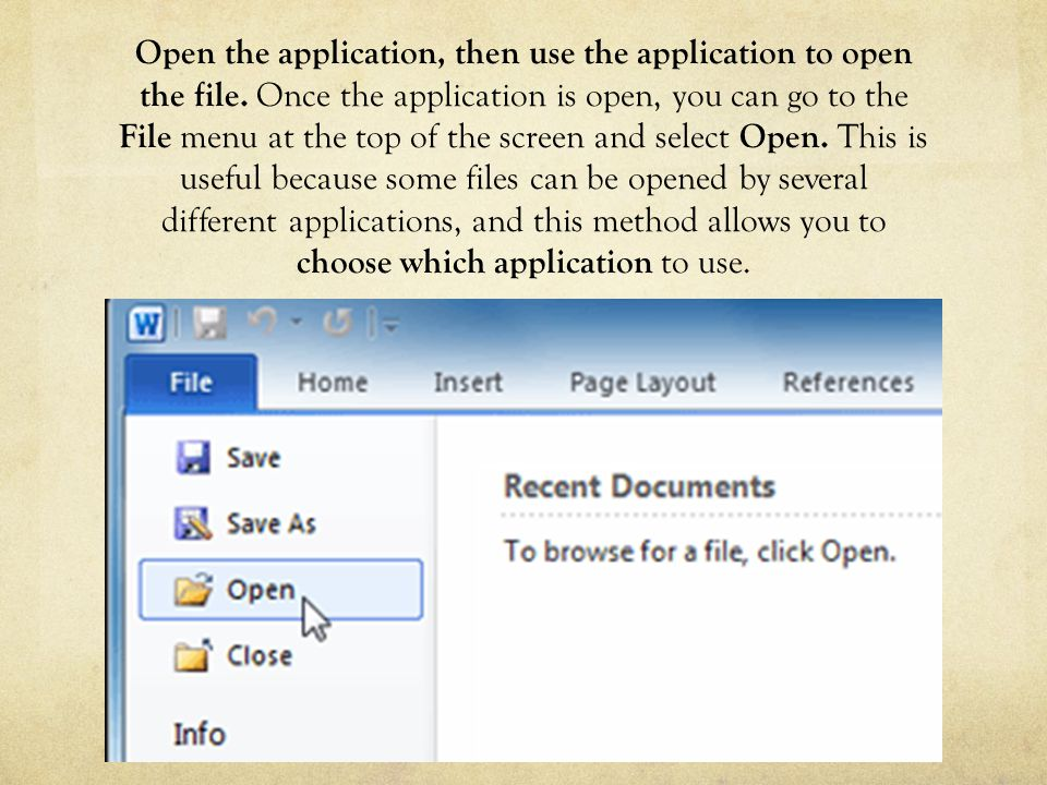 Open the application, then use the application to open the file.