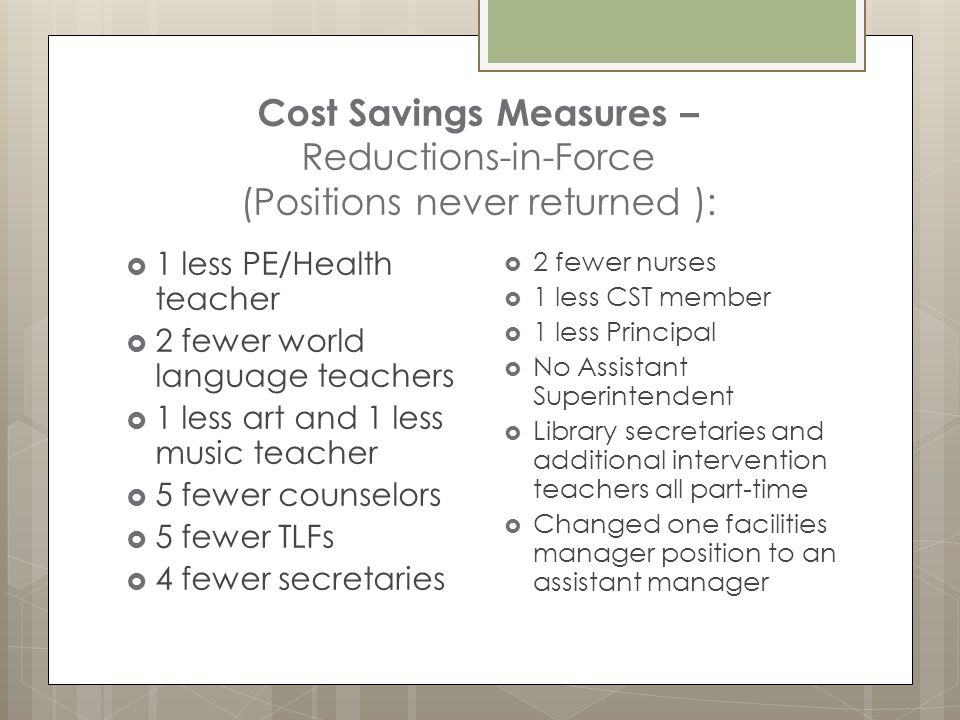 Cost Savings Measures – Reductions-in-Force (Positions never returned ):  1 less PE/Health teacher  2 fewer world language teachers  1 less art and 1 less music teacher  5 fewer counselors  5 fewer TLFs  4 fewer secretaries  2 fewer nurses  1 less CST member  1 less Principal  No Assistant Superintendent  Library secretaries and additional intervention teachers all part-time  Changed one facilities manager position to an assistant manager