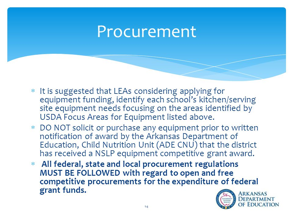  It is suggested that LEAs considering applying for equipment funding, identify each school's kitchen/serving site equipment needs focusing on the areas identified by USDA Focus Areas for Equipment listed above.