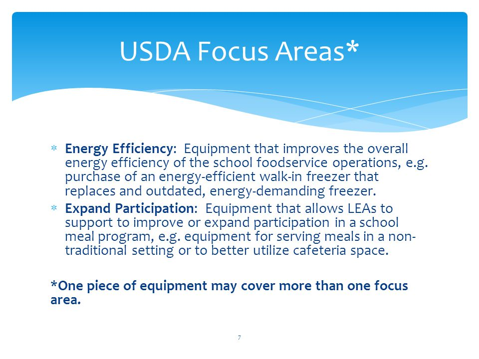  Energy Efficiency: Equipment that improves the overall energy efficiency of the school foodservice operations, e.g.