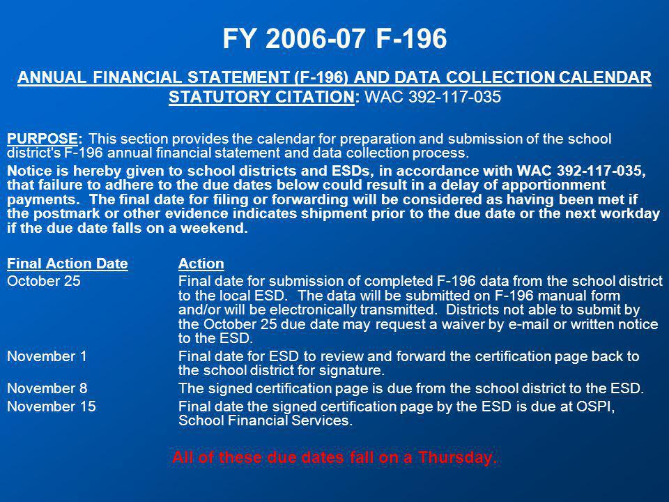 F-196 Changes and Additions  Data Requirements For Supplemental Reports (page 20) Manual entry is required for E-rate (Item 1771), LID days (Item 2021), Excess Cost Methodology certification (Item 1561), impact fees (Item 1581), mitigation fees (Item 1591), and COLA under RCW 28A.400.205 (Item 1551).