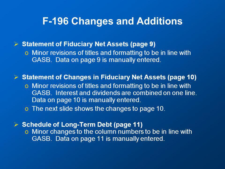 Minor changes to page 10—Stars indicate GASB required changes.