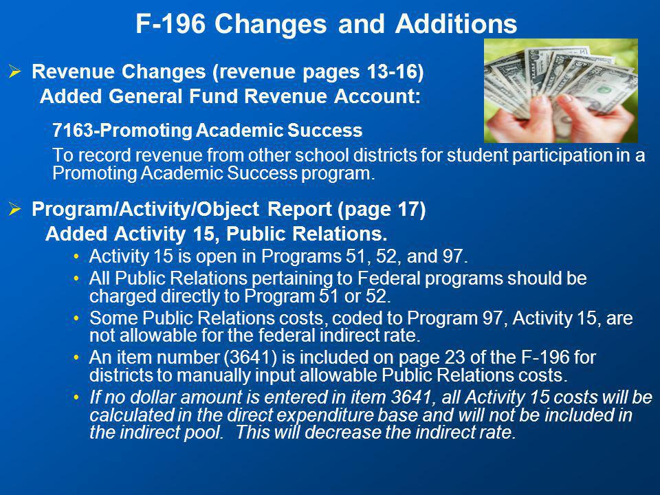 F-196 Changes and Additions  Revenue Changes (revenue pages 13-16) Added General Fund Revenue Account: 7163-Promoting Academic Success To record revenue from other school districts for student participation in a Promoting Academic Success program.
