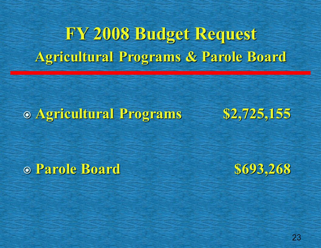  Agricultural Programs$2,725,155  Parole Board $693,268 FY 2008 Budget Request Agricultural Programs & Parole Board 23
