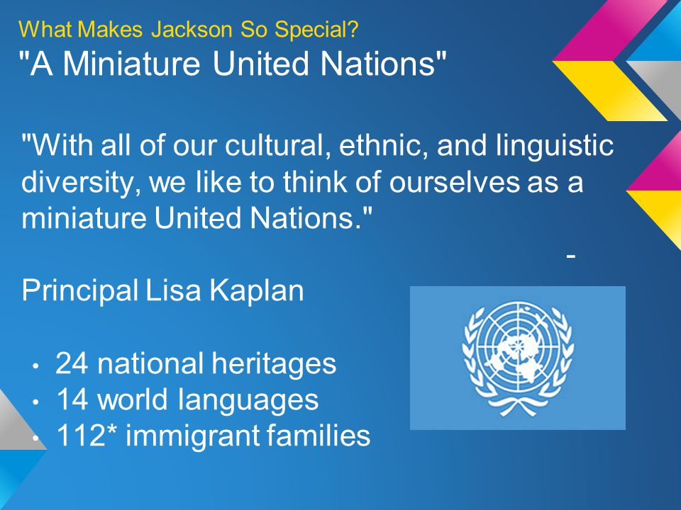 With all of our cultural, ethnic, and linguistic diversity, we like to think of ourselves as a miniature United Nations. - Principal Lisa Kaplan 24 national heritages 14 world languages 112* immigrant families What Makes Jackson So Special.