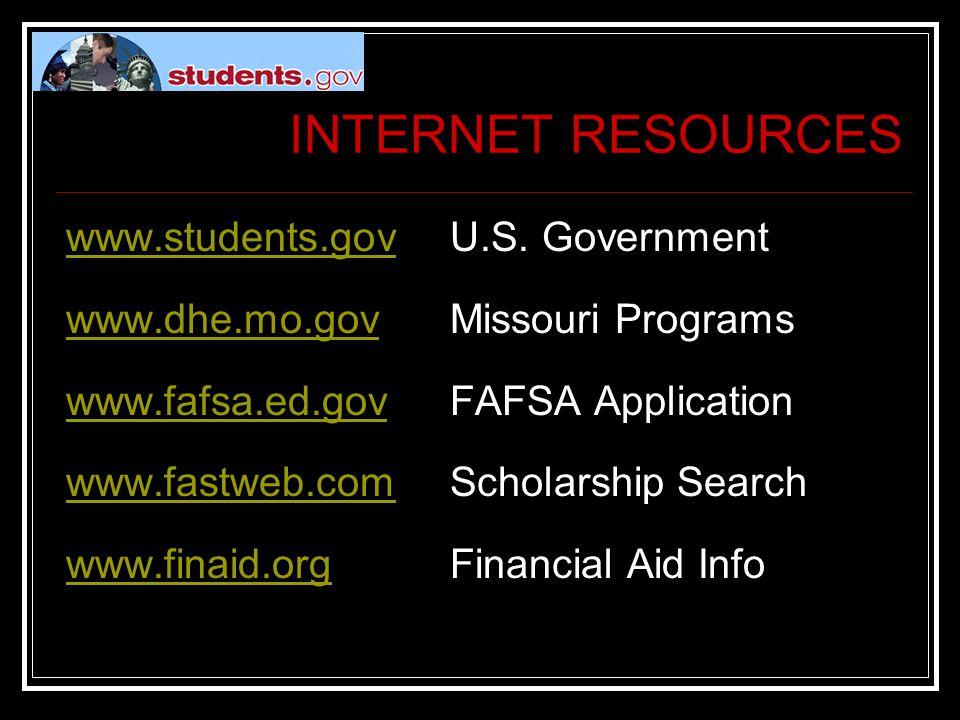 INTERNET RESOURCES www.students.govwww.students.govU.S.