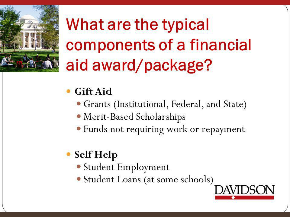 What are the typical components of a financial aid award/package.