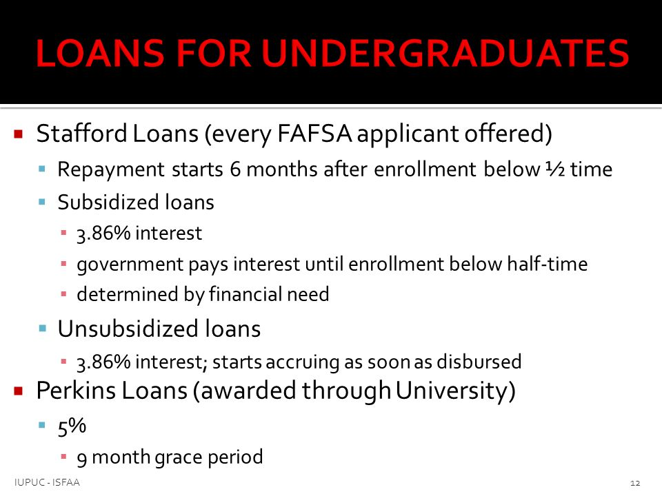  Stafford Loans (every FAFSA applicant offered)  Repayment starts 6 months after enrollment below ½ time  Subsidized loans ▪ 3.86% interest ▪ gover