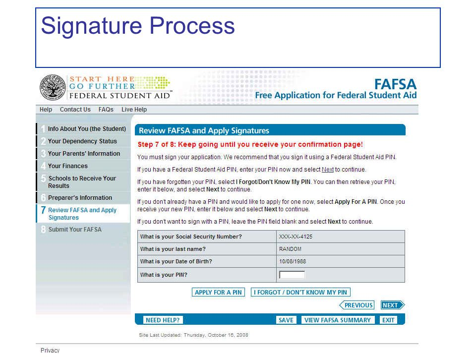 Signature Process