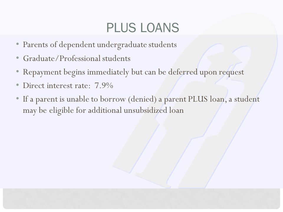 PLUS LOANS Parents of dependent undergraduate students Graduate/Professional students Repayment begins immediately but can be deferred upon request Di