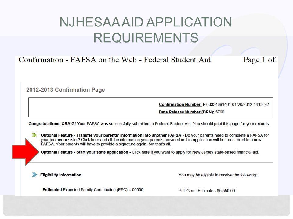 NJHESAA AID APPLICATION REQUIREMENTS