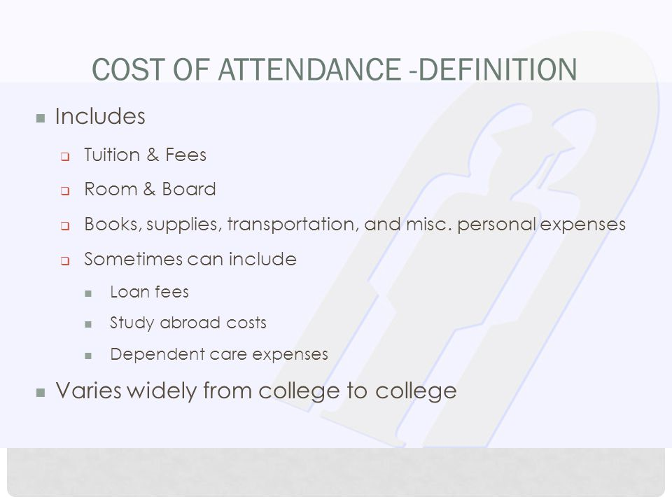COST OF ATTENDANCE -DEFINITION Includes  Tuition & Fees  Room & Board  Books, supplies, transportation, and misc.