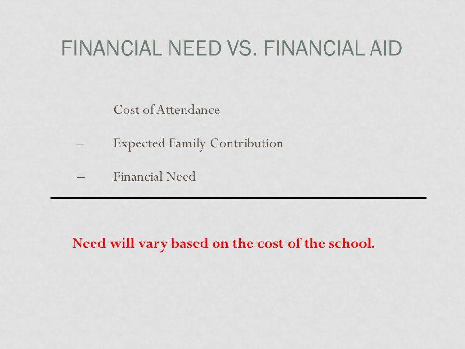 FINANCIAL NEED VS.