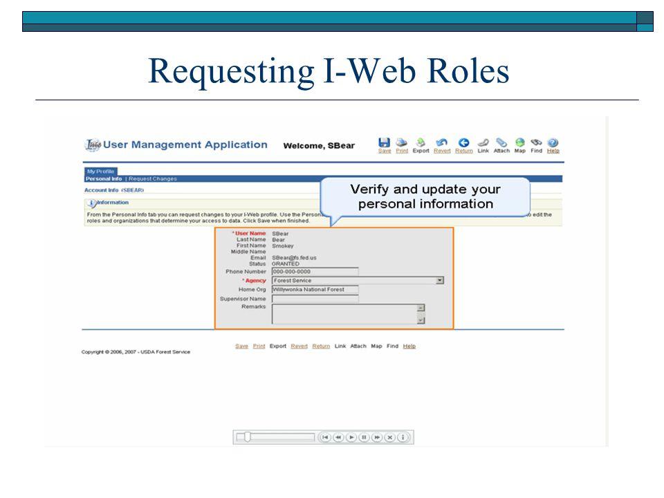 Requesting I-Web Roles