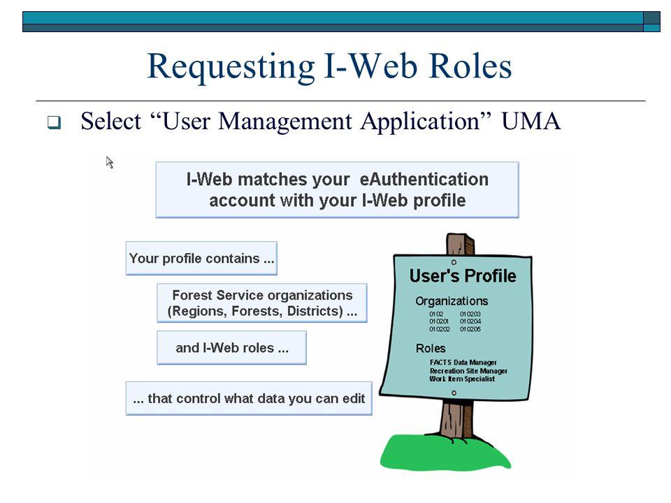 Requesting I-Web Roles  Select User Management Application UMA