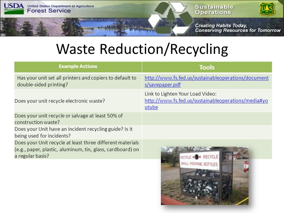 Waste Reduction/Recycling Example Actions Tools Has your unit set all printers and copiers to default to double-sided printing.