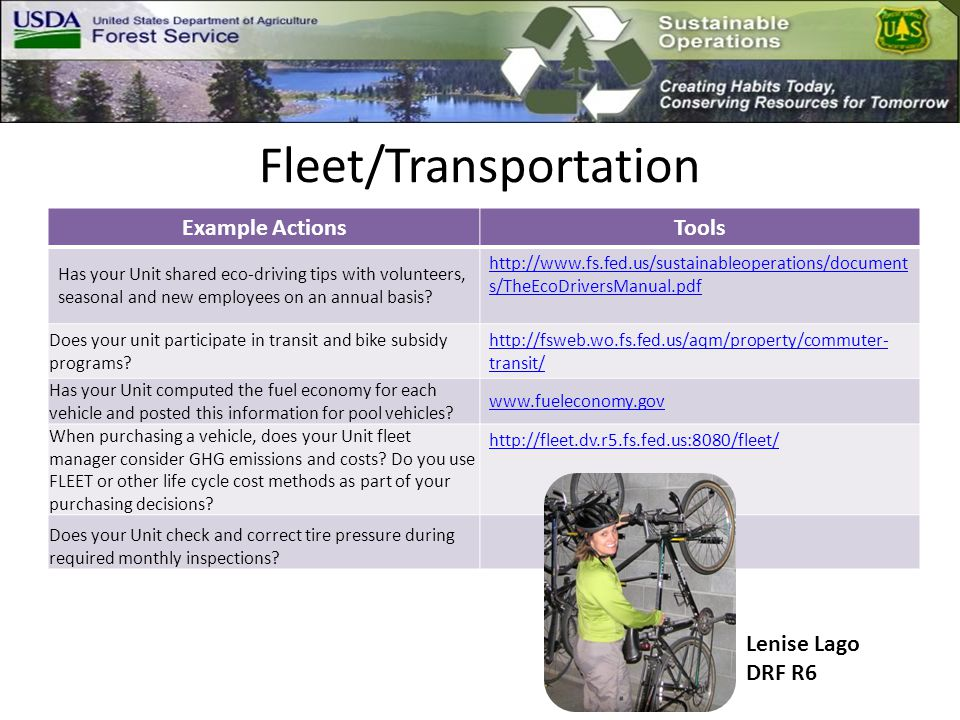Fleet/Transportation Example ActionsTools Has your Unit shared eco-driving tips with volunteers, seasonal and new employees on an annual basis.
