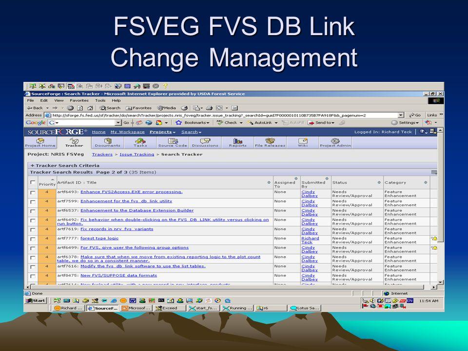 FSVEG FVS DB Link Change Management