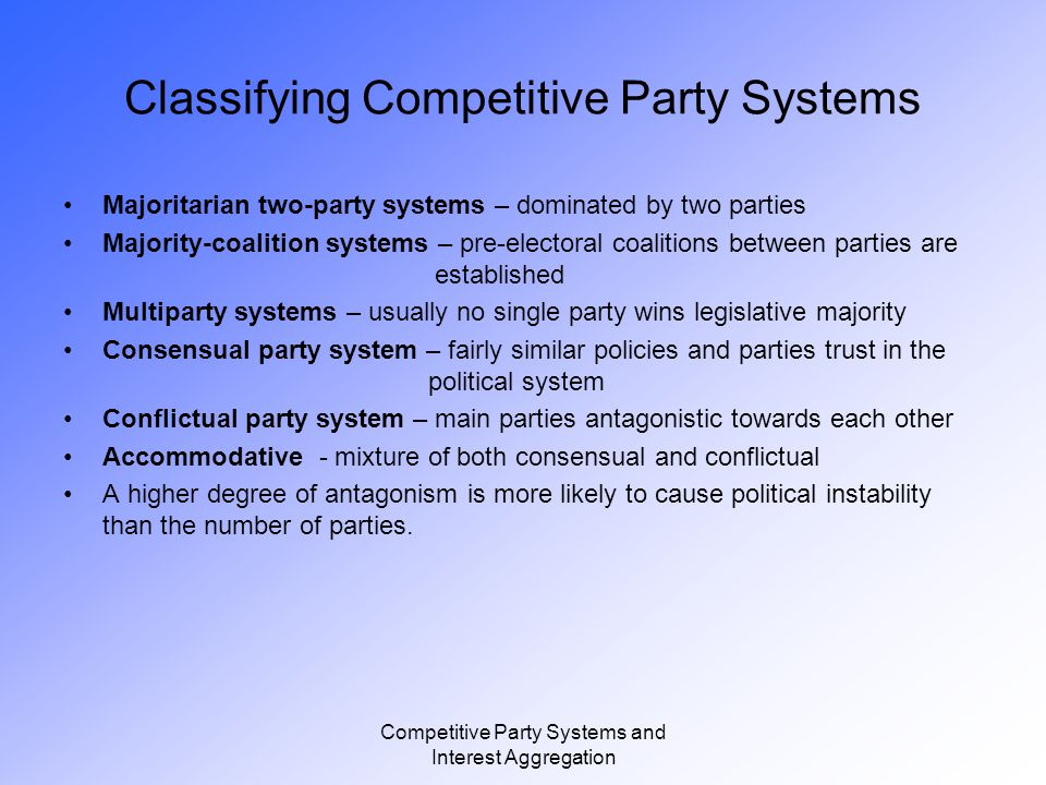 Competitive Party Systems and Interest Aggregation Competitive Parties in Government Possible results from election: - Single party wins majority of vote.
