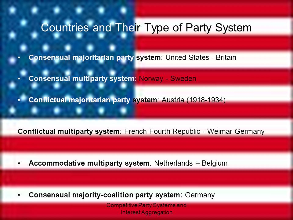 Competitive Party Systems and Interest Aggregation Classifying Competitive Party Systems Majoritarian two-party systems – dominated by two parties Majority-coalition systems – pre-electoral coalitions between parties are established Multiparty systems – usually no single party wins legislative majority Consensual party system – fairly similar policies and parties trust in the political system Conflictual party system – main parties antagonistic towards each other Accommodative - mixture of both consensual and conflictual A higher degree of antagonism is more likely to cause political instability than the number of parties.