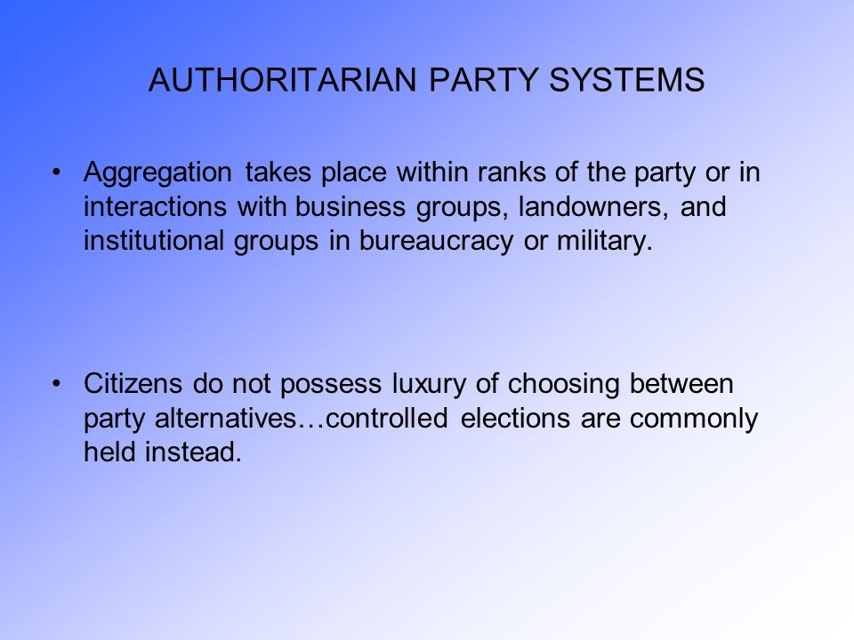 Competitive Party Systems and Interest Aggregation Countries and Their Type of Party System Consensual majoritarian party system: United States - Britain Consensual multiparty system: Norway - Sweden Conflictual majoritarian party system: Austria ( ) Conflictual multiparty system: French Fourth Republic - Weimar Germany Accommodative multiparty system: Netherlands – Belgium Consensual majority-coalition party system: Germany