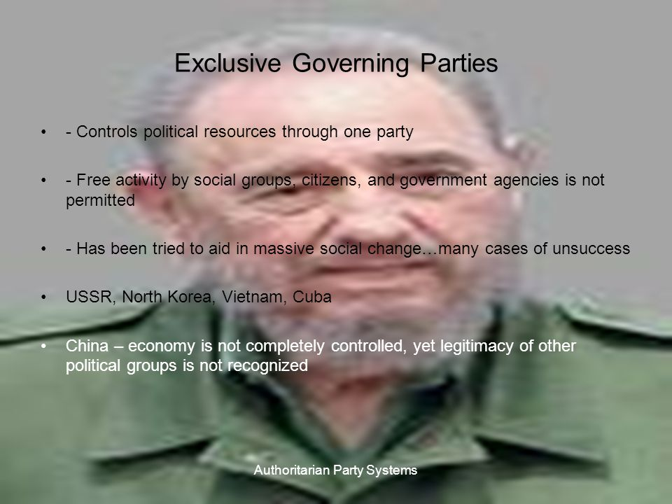 AUTHORITARIAN PARTY SYSTEMS Aggregation takes place within ranks of the party or in interactions with business groups, landowners, and institutional groups in bureaucracy or military.