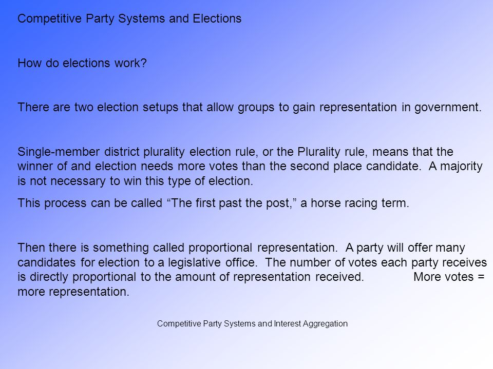 Competitive Party Systems and Interest Aggregation There are two types of party systems: Competitive Party Systems have parties that try to build electoral support in hopes of winning an election.