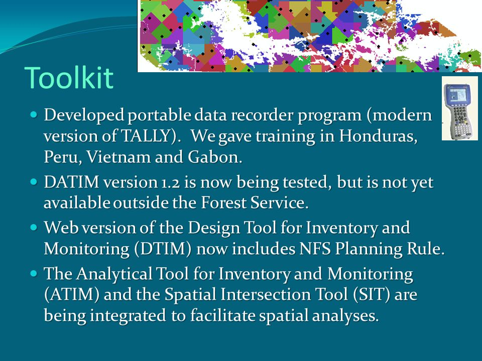 Toolkit Developed portable data recorder program (modern version of TALLY).