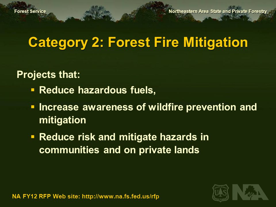 Forest Service Northeastern Area State and Private Forestry NA FY12 RFP Web site: http://www.na.fs.fed.us/rfp Criteria for Forest Fire Hazard Mitigation  Forest fire hazard mitigation (25 points)  Relate accomplishments to State Forest Resources Action Plan; identify client benefit (25 points)  Partnerships & collaboration (20 points)  Innovative approach (20 points)  Capacity for replication (10 points)
