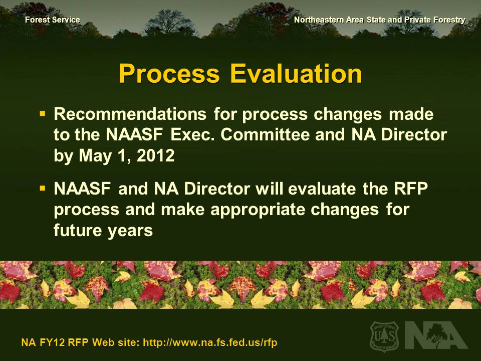 Forest Service Northeastern Area State and Private Forestry NA FY12 RFP Web site: http://www.na.fs.fed.us/rfp Questions?