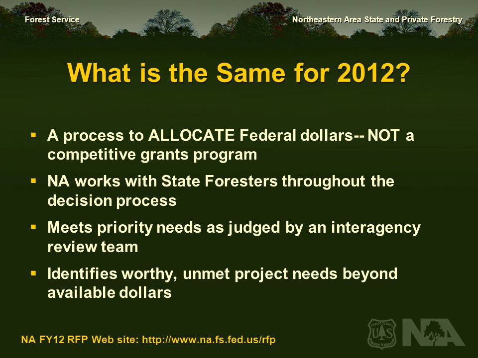Forest Service Northeastern Area State and Private Forestry NA FY12 RFP Web site: http://www.na.fs.fed.us/rfp Funding Authorities  Funding authorities this year:  Fire  Forest Health  Forest Stewardship  Urban & Community Forestry Does not include or affect core S&PF program funding