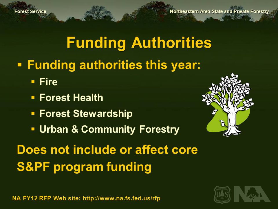 Forest Service Northeastern Area State and Private Forestry NA FY12 RFP Web site: http://www.na.fs.fed.us/rfp RFP Combines the Following Previously Separate RFPs:  National S&PF Competitive Resource Allocation ( Redesign grants)  Forest Fire Hazard mitigation  NA Forest Health Management and Treatments