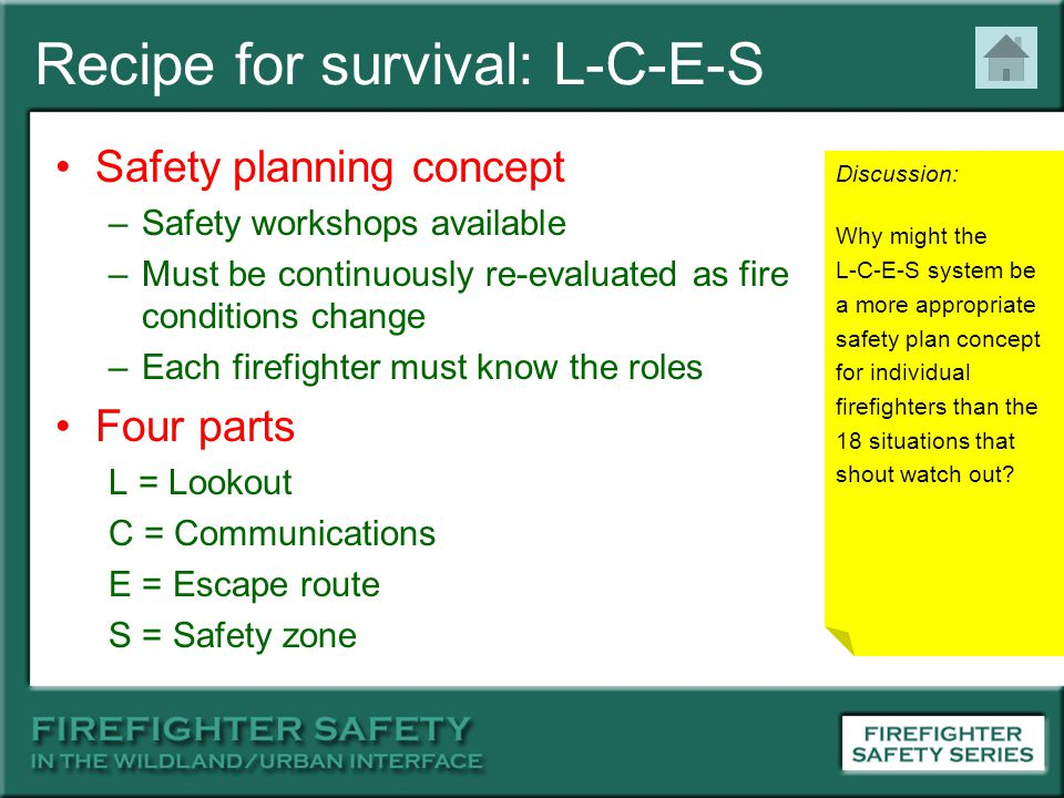 Recipe for survival: L-C-E-S Safety planning concept –Safety workshops available –Must be continuously re-evaluated as fire conditions change –Each fi