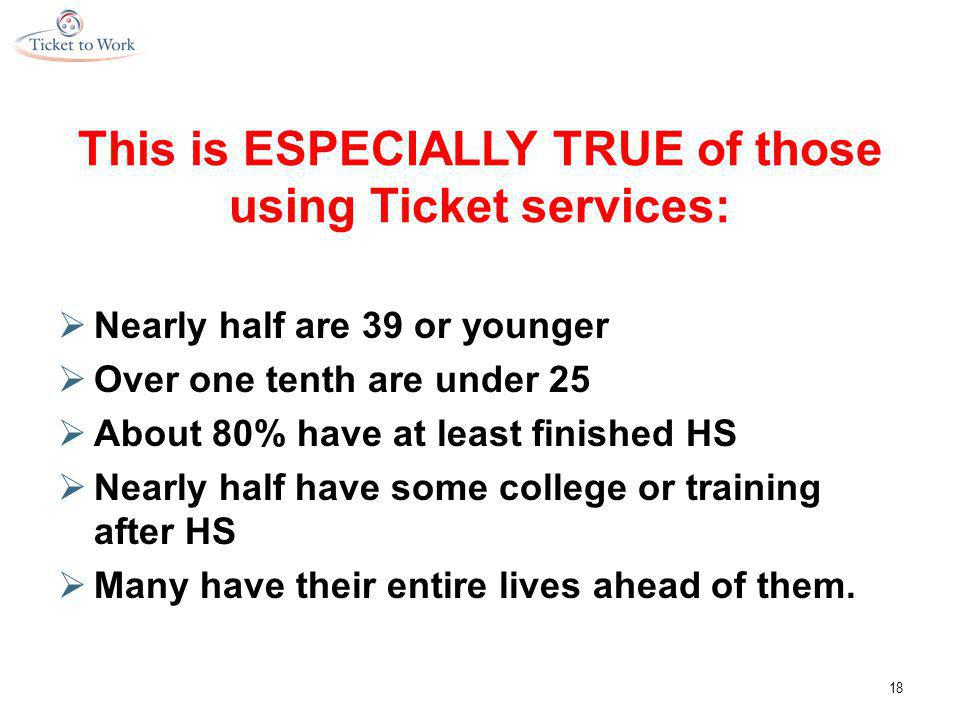 This is ESPECIALLY TRUE of those using Ticket services:  Nearly half are 39 or younger  Over one tenth are under 25  About 80% have at least finished HS  Nearly half have some college or training after HS  Many have their entire lives ahead of them.